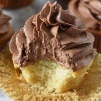chocolate buttercream frosting on yellow cupcake