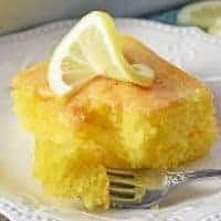 slice of lemon cake on white plate