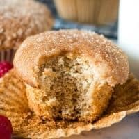 Bisquick cinnamon muffin with bite out