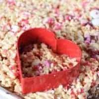 heart cookie cutter on Valentine's Rice Krispie treats
