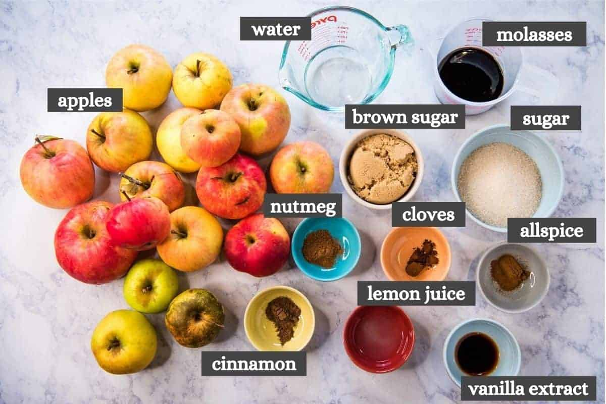 ingredients for Instant Pot apple butter recipe on white marble countertop