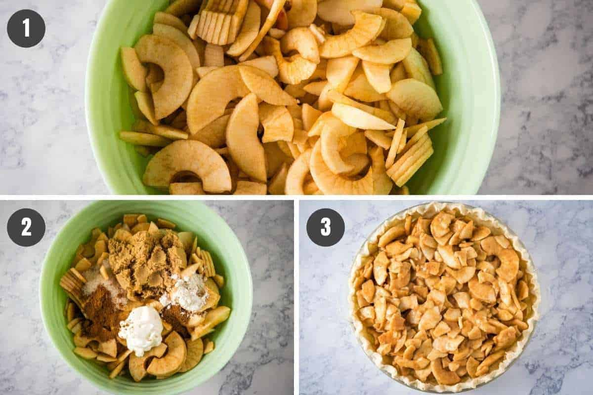 steps for how to make apple crumb pie, including mixing sliced apples with sugar, spices, and sour cream in mint green mixing bowl, then pouring apple pie filling into pie crust