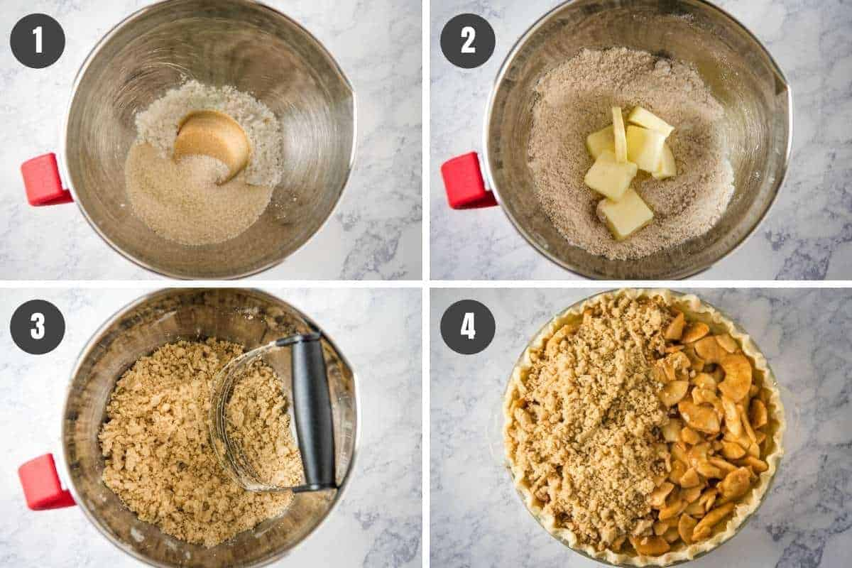 how to make Dutch apple pie topping, including mixing sugar and flour with cold butter, then crumbling over apple pie