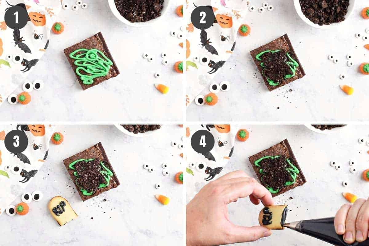 steps for how to make graveyard brownies, including adding icing, crushed Oreos, and RIP Milano cookie graves