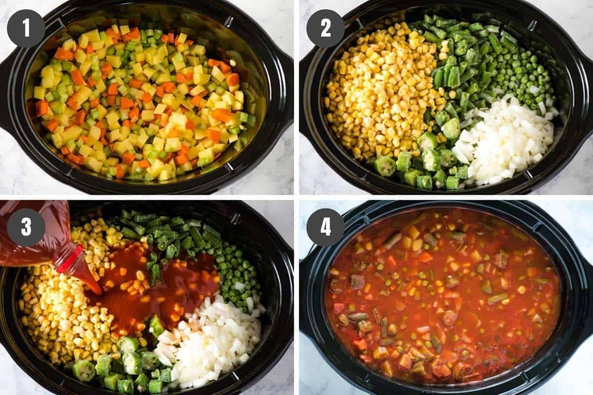 steps for how to make CrockPot vegetable soup with V8 juice