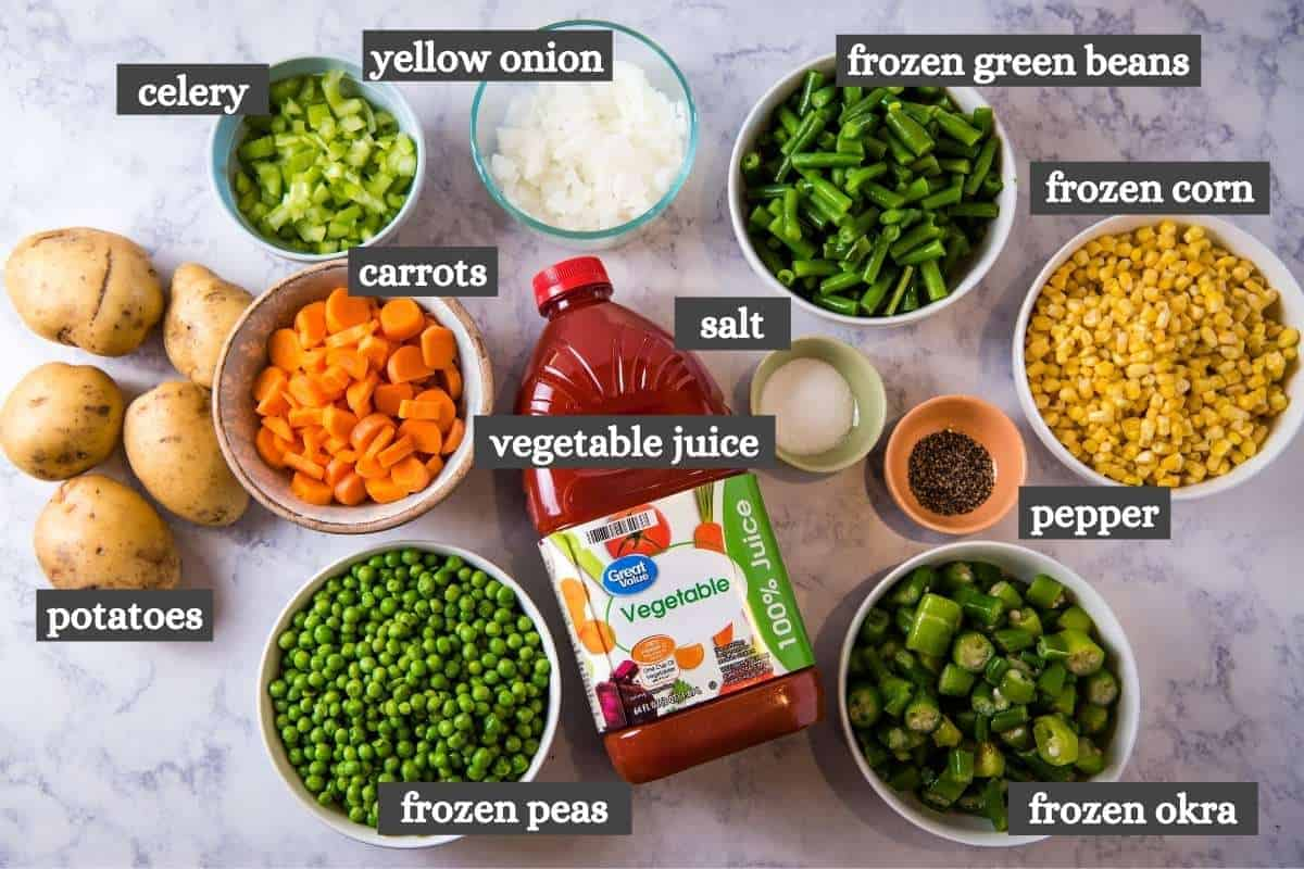 V8 vegetable soup ingredients on white marble countertop